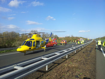 Intervention sur un accident sur l'autoroute A11